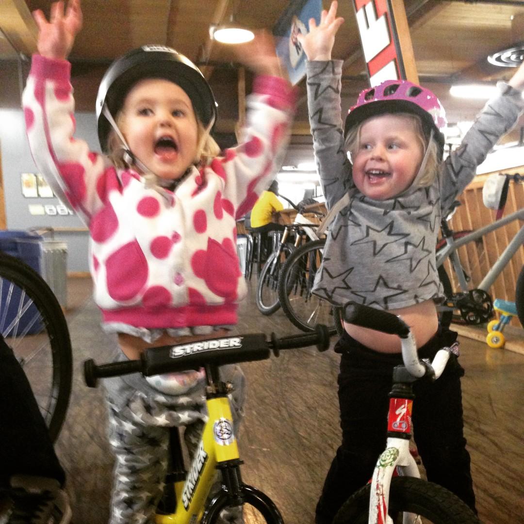 nieces on bikes